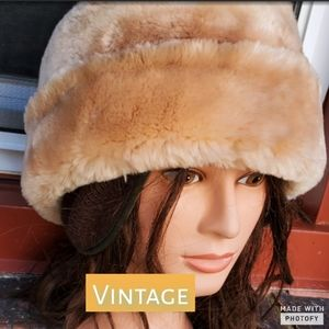 Vintage Faux Fur unisex  hat with flaps